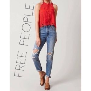Free People Rory red crochet lace crop front top M